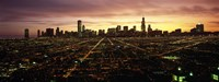 CGI composite, High angle view of a city at night, Chicago, Cook County, Illinois, USA Fine-Art Print