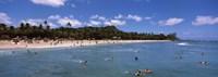 Tourists on the beach, Waikiki Beach, Honolulu, Oahu, Hawaii, USA Fine-Art Print