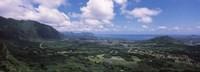 High angle view of a landscape, Kaneohe, Oahu, Hawaii Fine-Art Print