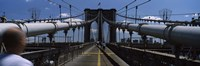 Man walking on a bridge, Brooklyn Bridge, Brooklyn, New York City, New York State, USA Fine-Art Print