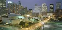 Skyscrapers lit up at night, Houston, Texas Fine-Art Print