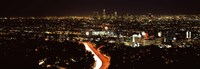 City lit up at night, Hollywood, City Of Los Angeles, Los Angeles County, California, USA 2010 Fine-Art Print