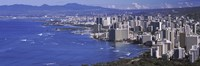 High angle view of a city at waterfront, Honolulu, Oahu, Honolulu County, Hawaii Fine-Art Print