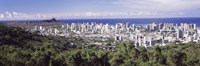 View of Honolulu with the ocean in the background, Oahu, Honolulu County, Hawaii, USA 2010 Fine-Art Print