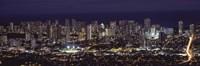 High angle view of a city lit up at night, Honolulu, Oahu, Honolulu County, Hawaii Fine-Art Print