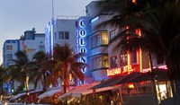 Hotels lit up at dusk in a city, Miami, Miami-Dade County, Florida, USA Fine-Art Print