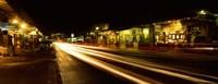 Streaks of lights on the road in a city at night, Lahaina, Maui, Hawaii, USA Fine-Art Print