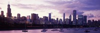 Buildings at the Waterfront, Lake Michigan, Chicago (purple) Fine-Art Print