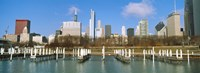 Columbia Yacht Club with buildings in the background, Chicago, Cook County, Illinois, USA Fine-Art Print