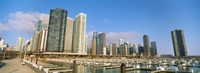 Columbia Yacht Club with buildings in the background, Lake Point Tower, Chicago, Cook County, Illinois, USA Fine-Art Print
