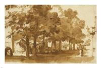 A Market Scene Under Trees in Katwijk Fine-Art Print
