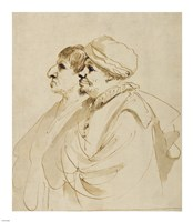 Caricature of Two Men Seen in Profile Fine-Art Print