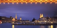 Switzerland, Zurich, Cityscape of Zurich at Christmas Fine-Art Print