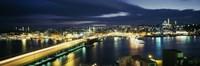High angle view of a bridge lit up at night, Istanbul, Turkey Fine-Art Print