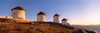 Low angle view of traditional windmills, Mykonos, Cyclades Islands, Greece Fine-Art Print