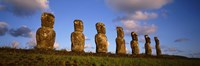 Low angle view of statues in a row, Moai Statue, Easter Island, Chile Fine-Art Print