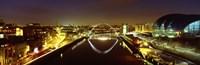 Reflection Of A Bridge On Water, Millennium Bridge, Newcastle, Northumberland, England, United Kingdom Fine-Art Print