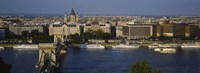 Buildings at the waterfront, Chain Bridge, Danube River, Budapest, Hungary Fine-Art Print