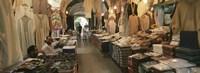 Clothing stores in a market, Souk Al-Liffa, Tripoli, Libya Fine-Art Print