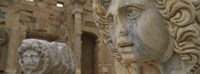 Close-up of statues in an old ruined building, Leptis Magna, Libya Fine-Art Print