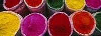 High angle view of various powder paints, Braj, Mathura, Uttar Pradesh, India Fine-Art Print