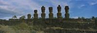Moai statues in a row, Rano Raraku, Easter Island, Chile Fine-Art Print