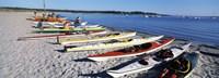Kayaks on the beach, Third Beach, Sakonnet River, Middletown, Newport County, Rhode Island (horizontal) Fine-Art Print
