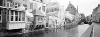 Houses along a channel, Bruges, West Flanders, Belgium Fine-Art Print