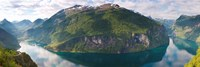 Reflection of mountains in fjord, Geirangerfjord, Sunnmore, Norway Fine-Art Print