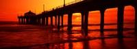 Silhouette of a pier at sunset, Manhattan Beach Pier, Manhattan Beach, Los Angeles County, California, USA Fine-Art Print