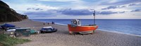 Boats on the beach, Branscombe Beach, Devon, England Fine-Art Print