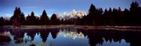 Reflection of mountains with trees in the river, Teton Range, Snake River, Grand Teton National Park, Wyoming, USA Fine-Art Print