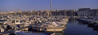 Boats docked at a harbor, Marseille, Bouches-Du-Rhone, Provence-Alpes-Cote d'Azur, France Fine-Art Print