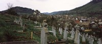Tombstones in a cemetery, Saxon Church, Biertan, Sibiu County, Transylvania, Romania Fine-Art Print