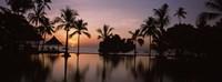 Sunset over hotel pool, Lombok, West Nusa Tenggara, Indonesia Fine-Art Print