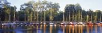Sailboats moored at a dock, Langholmens Canal, Stockholm, Sweden Fine-Art Print