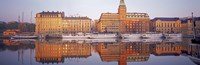 Ferries and Sailboats moored at a harbor, Nybroviken, SAS Radisson Hotel, Stockholm, Sweden Fine-Art Print