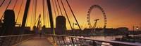 Bridge with ferris wheel, Golden Jubilee Bridge, Thames River, Millennium Wheel, City Of Westminster, London, England Fine-Art Print