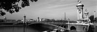 Pont Alexandre III, Seine River, Paris, Ile-de-France, France (black and white) Fine-Art Print