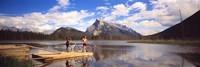 Mountain Bikers Vermilion Lakes Alberta Canada Fine-Art Print