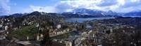 High angle view of a city, Chateau Gutsch, Lucerne, Switzerland Fine-Art Print
