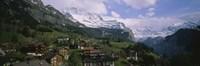 High angle view of a village on a hillside, Wengen, Switzerland Fine-Art Print