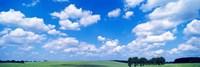 Cumulus Clouds With Landscape, Blue Sky, Germany Fine-Art Print