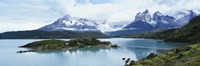 Island in a lake, Lake Pehoe, Hosteria Pehoe, Cuernos Del Paine, Torres del Paine National Park, Patagonia, Chile Fine-Art Print
