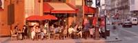 Tourists at a sidewalk cafe, Paris, France Fine-Art Print
