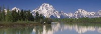 Reflection of a mountain range in water, Oxbow Bend, Grand Teton National Park, Wyoming, USA Fine-Art Print