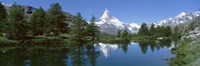 Reflection of a mountain in a lake, Matterhorn, Riffelsee Lake, Pennine Alps, Zermatt, Valley, Switzerland Fine-Art Print