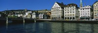 Buildings at the waterfront, Limmat Quai, Zurich, Switzerland Fine-Art Print