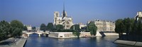Cathedral along a river, Notre Dame Cathedral, Seine River, Paris, France Fine-Art Print