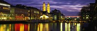 Reflection of night lights in River Limmat Zurich Switzerland Fine-Art Print